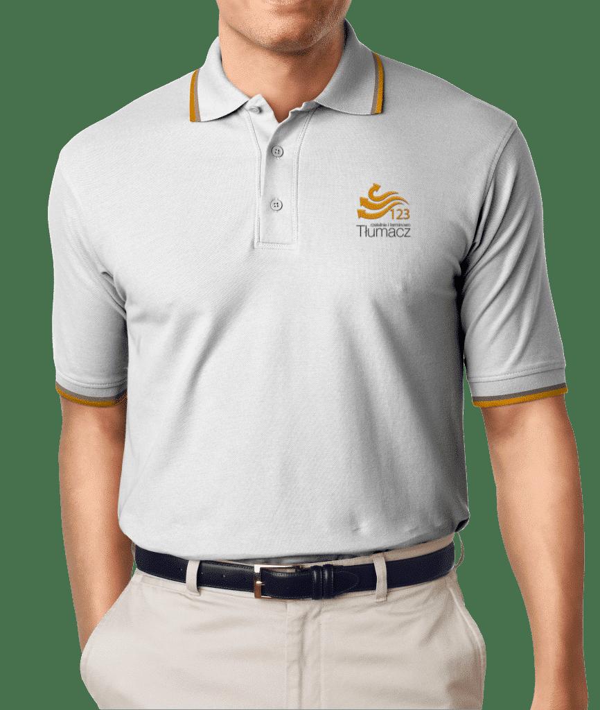 Firmowa koszulka polo (szara) 123Tłumacz.pl