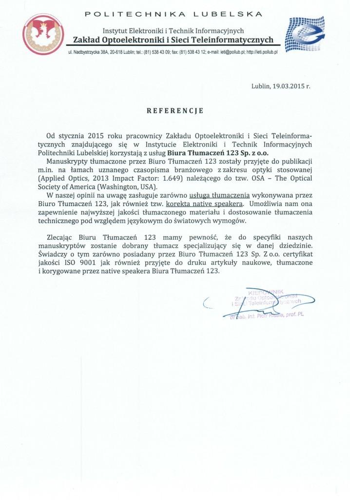 Nasze realizacje i referencje Politechnika Lubelska