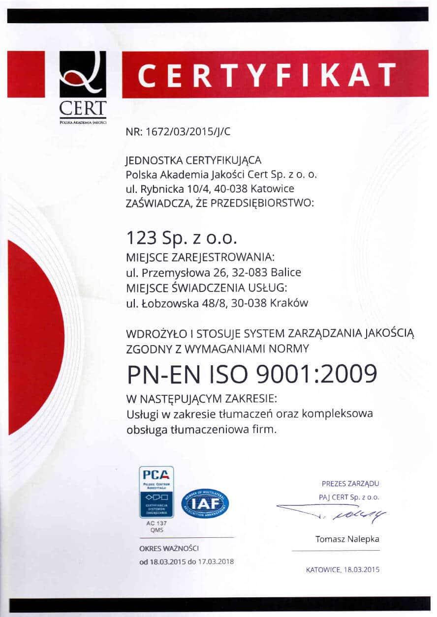 Certyfikat PN-EN ISO-9001 dla 123tlumacz.pl