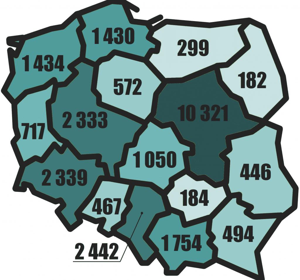Количество субъектов хозяйствования с иностранным капиталом в Польше в 2014 году по воеводствах