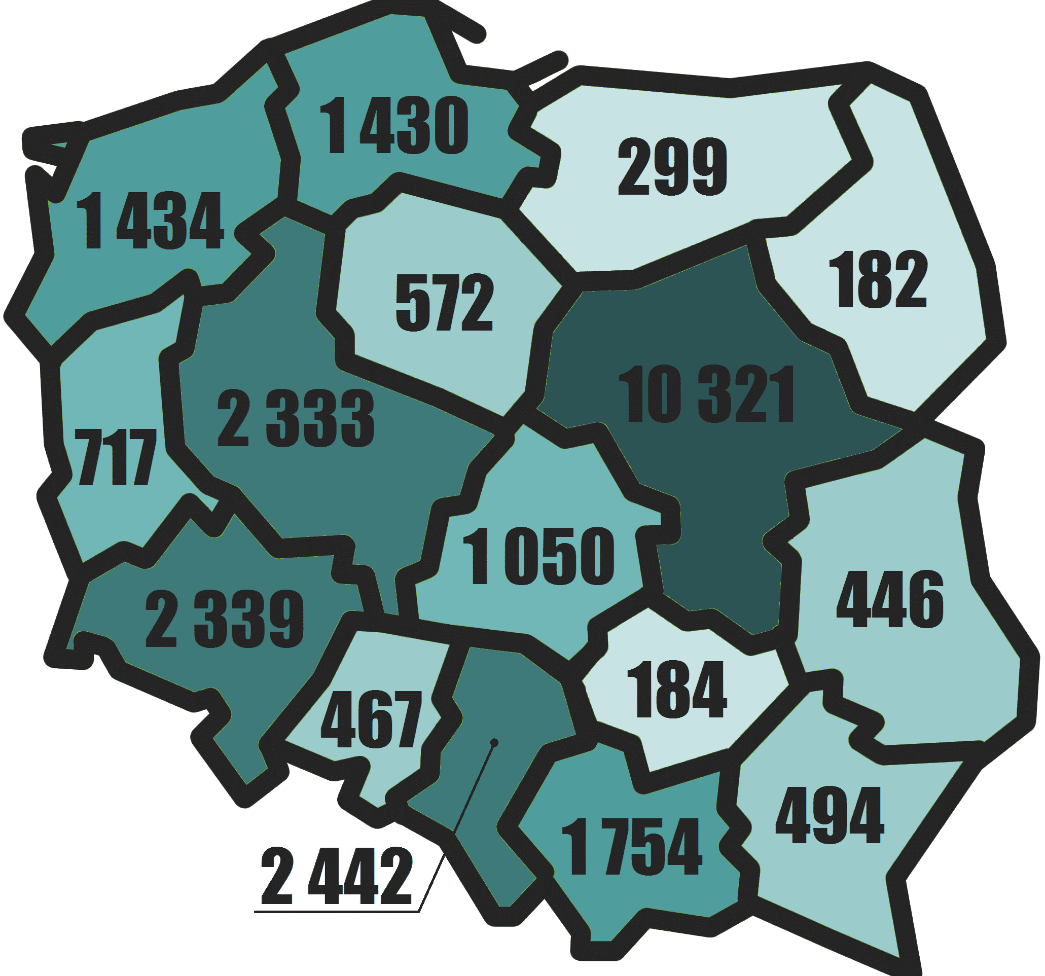The number of entities with foreign capital in Poland in 2014 by voivodeships