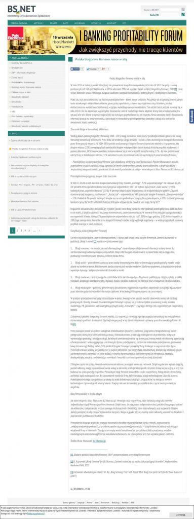 Artykuł z komentarzem naszego eksperta opublikowany na łamach Internetowego Serwisu Bankowości Spółdzielczej.